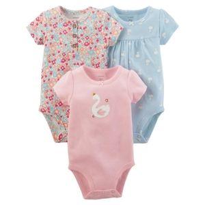 Carters 3 piece swan bodysuit set